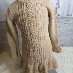 3/$30 Maggie & Zoe gold metallic sweater dress